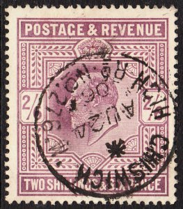 SG 261 2/6d Dull Purple (OCP) in VFU with dated No. 276 High Rd. Chiswick CDS.