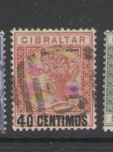 Gibraltar Sc 26 1889 40 c ovpt Victoria stamp used