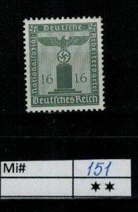 Deutschland Reich TR02 DR Mi 151 1938 Dienstmarke Postfrisch ** MNH
