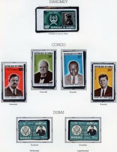 DAHOMEY, DUBAI OVP'T JOHN F KENNEDY MEMORIAL STAMPS IMPERF MINT NH & CONGO SET