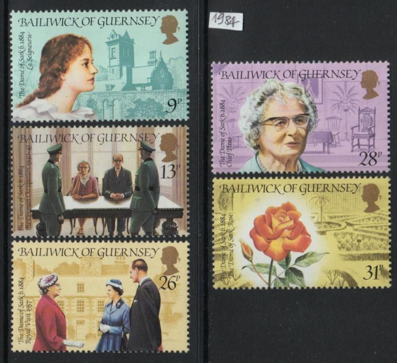 XG-O767 GUERNSEY - Flowers, 1984 S. Hathaway, 5 Values MNH Set