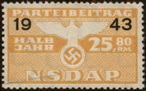 Germany NSDAP Party 1943 25.80RM Dues Revenue Membership Stamp 96223