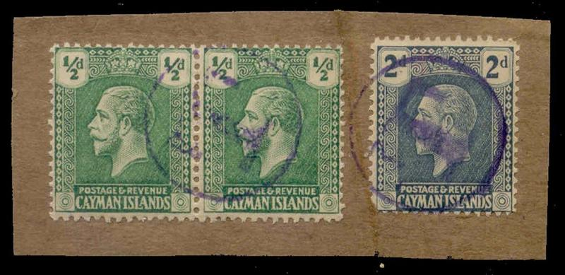 Cayman Islands 1921 1/2d Pair + 2d w/ Postage Due T Strikes in Violet on Piece