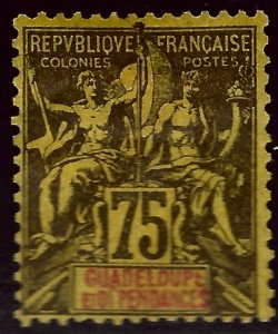 Guadeloupe Sc #43 Unused F-VF SCV$32.50...French colonies are in demand!