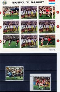 Paraguay 1986 Mi#3997/99 World Cup Mexico Set +Mini-Sheetlet MUESTRA MNH