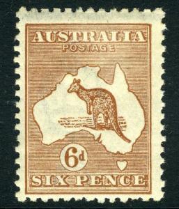 AUSTRALIA-1923-24 6d Chestnut Sg 73 LIGHTLY MOUNTED MINT V12579