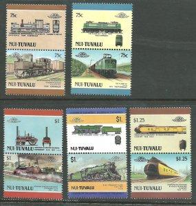 Tuvalu -Nui 2-24   Locomotives   Mint NH VF 1984-88 PD