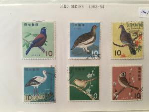 Japan Used 6 stamps Bird series year of 1963-1964