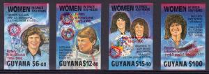 Guyana 1989 Women in Space ovpt.ROTARY in Red (4) IMPERFORATED MNH
