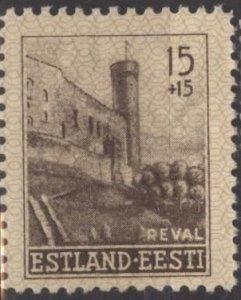 Estonia NB1 (mnh perf. 11½) 15k+15k Castle tower, Tallinn, dk brn (1941)
