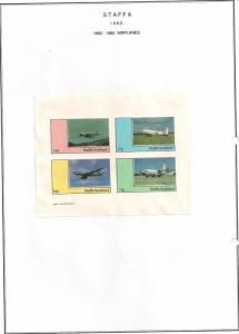 SCOTLAND - STAFFA - 1982 - Airplanes #1 - Imperf 4v Sheet - MLH