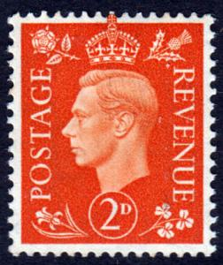 GB KGVI 1937 2d Orange SG465 Mint Never Hinged MNH UMM