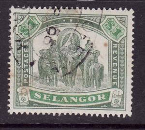 Malaya Selangor-SC#33-used-$1 green & lt green-Elephants-189