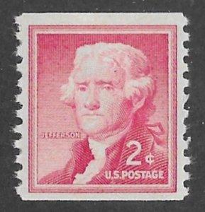 USA # 1055 Thos. Jefferson 2c  COIL     (1) Mint NH
