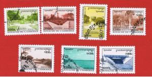 Cambodia #1655-1661 VF used  Gardens & Dams   full set   Free S/H