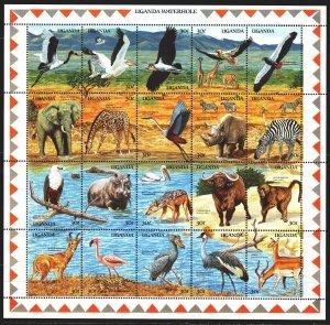 Uganda. 1989. Small sheet 677-96. Fauna of africa. MNH.