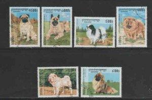 CAMBODIA #1638-1643 1997 DOGS MINT VF NH O.G CTO