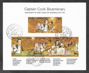 Australia 482a Mint NH MNH CTO 1st day Issue Souvenir Sheet Captain Cook!