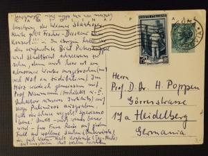 1956 Rome Italy to Heidelberg Germany University Professor Postcard Cover