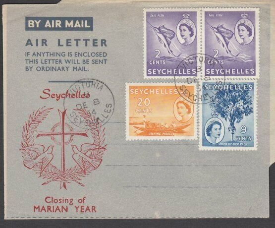 SEYCHELLES 1964 Marian Year opt formular aerogramme 'used' Victoria cds.....M981