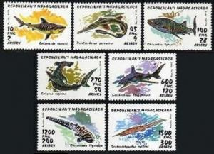 Malagasy 1280-1286,1287,MNH.Michel 1527-1533,Bl.210. Sharks 1993.