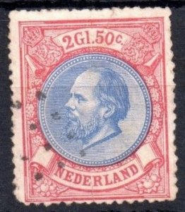 Netherlands Sc 33 (1872) Used 2g50c Rose & Ultra VF Cat.Value $105.00