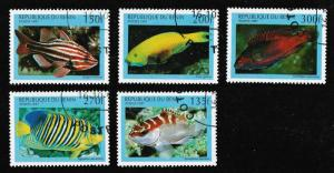 Benin Brilliant-Colored Tropical Fish cancelled set (5 stamps) 1997