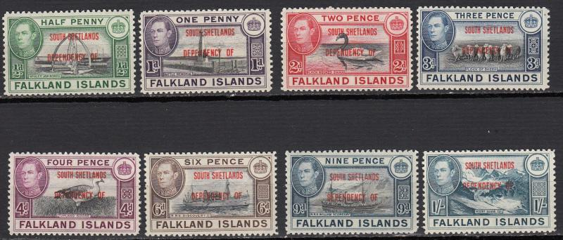 Falkland Islands - South Shetlands -1944 KGVI complete set Sc# 5L1/5L8-MNH (525)