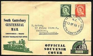 NEW ZEALAND 1959 TPO South Canterbury railway cover..............18528