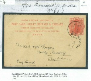 GB REPLY Card Used Abroad *Ranikhet* INDIA HILL STATION 1903 Retour Norfolk 32.4