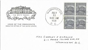 #809 Prexie FDC, 4-1/2c White House, House of Farnam cachet, block of 4