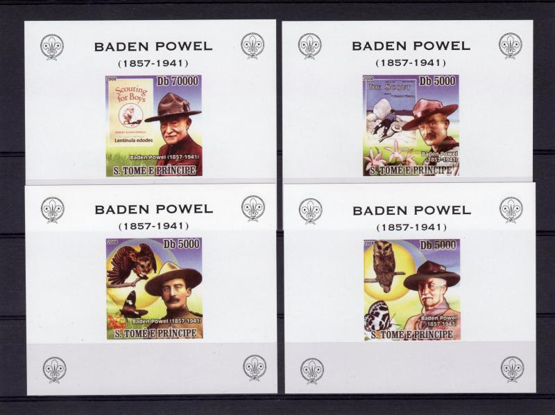 Sao Tome and Principe 2008 Scouts/Banden Powel/Butterflies/Owl 4 SS MNH VF