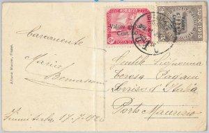 57033 - FIUME - STORIA POSTALE : FRANCOBOLLI su CARTOLINA 1920