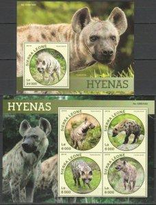 ST441 2016 SIERRA LEONE ANIMALS FAUNA HYENAS 1KB+1BL MNH STAMPS