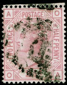 SG141, 2½d rosy mauve PLATE 14, USED. Cat £60. OA
