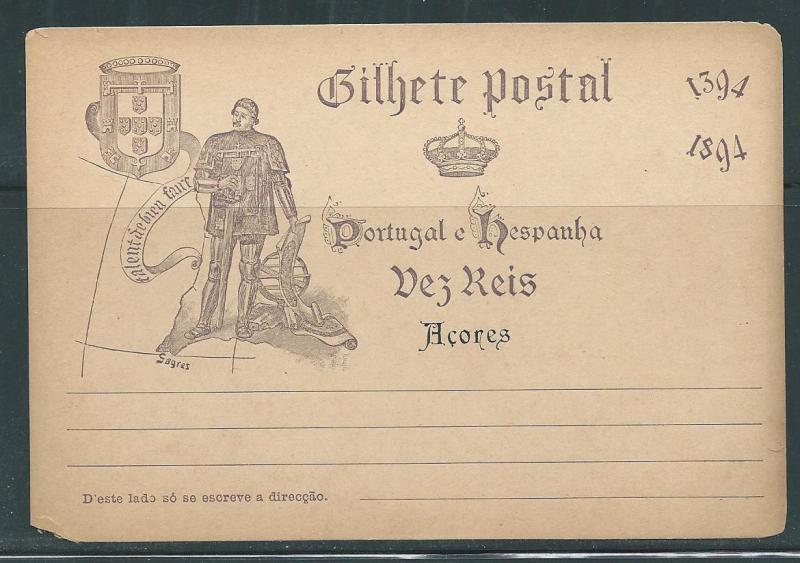 Azores Stationery Postcard H&G #24 Mint