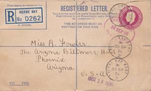 Great Britain 1936 4 1/2d KGV Registration Envelope Herne Bay Kent- Phoenix, AZ.