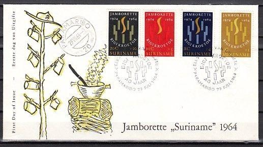Suriname, Scott cat. B104-B107. 40th Scout Anniversary issue. First day cover.