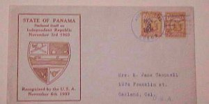 PANAMA    CACHET DECLARED INDEPENDENT REPUBLIC 1935