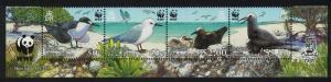 Pitcairn WWF Seabirds Long Bottom Strip of 4v WWF Logo SG#724-727 MI#717-720