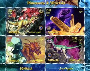 Somalia 2003 Dinosaurs Minerals LIONS & ROTARY Emblem Sheet Perforated Mint (NH)