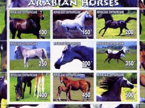 Central African Republic 2000 ARABIAN HORSES Sheet Perforated Mint (NH)