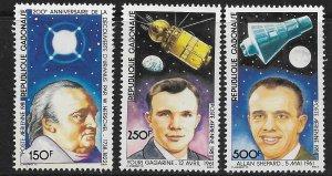 GABON  C245-C247  MNH  SPACECRAFTS & ASTRONAUTS SET 1981