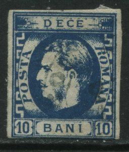 Romania 1871 10 bani blue used