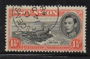 Ascension Sc 42 1944 1 1/2d The Pier stamp used
