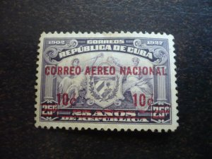 Stamps - Cuba - Scott# C3 - Mint Hinged airmail Stamp Overprinted & Surcharged
