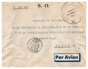 Togo Official Free Mail 1951 Lome, Togo Airmail to Paris, France with Printed...