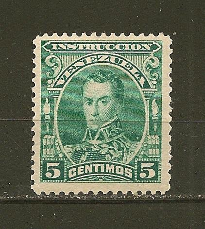Venezuela Simon Bolivar 1880's Instruccion Revenue Stamp 5 Centimo Mint Hinged
