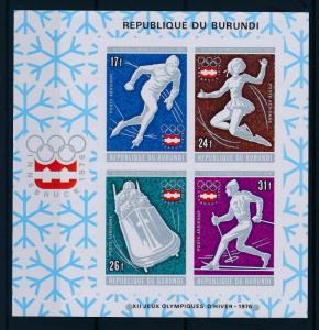 [55836] Burundi 1976 Olympic games Figure skating Bobsleigh Imperf. MNH Sheet