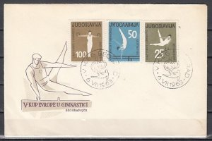 Yugoslavia, Scott cat. 704-706. Gymnastics issue on a First day cover. ^